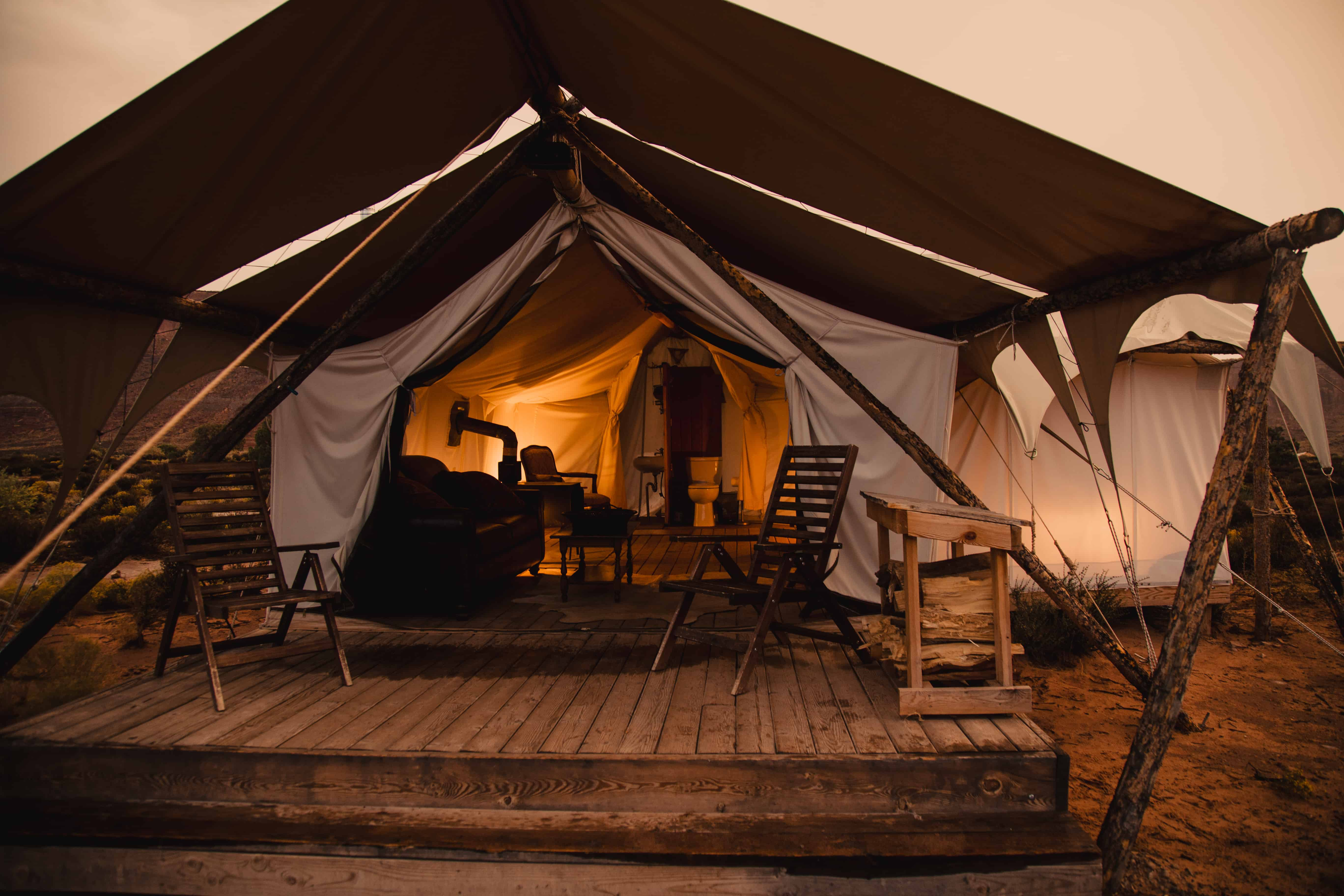 a luxury tent in the desert