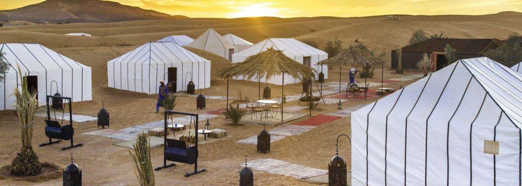 a luxury camp in the Sahara desert